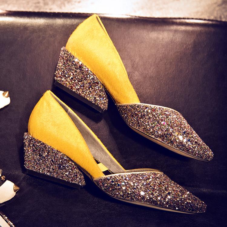 紫色坡跟鞋 2016秋冬新款 韩版真皮拼接尖头浅口舒适中跟坡跟单鞋 黄色 紫色_推荐淘宝好看的紫色坡跟鞋