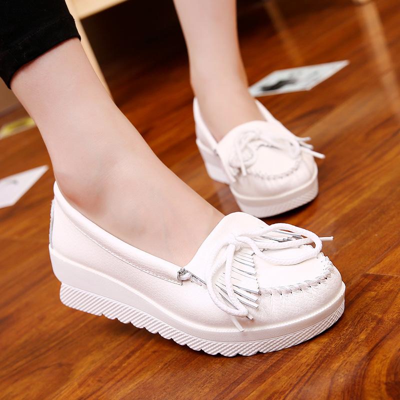 女士坡跟鞋 圣诗丹特韩版护士鞋真皮春季流苏小白鞋坡跟女鞋白色休闲鞋单鞋_推荐淘宝好看的女坡跟鞋
