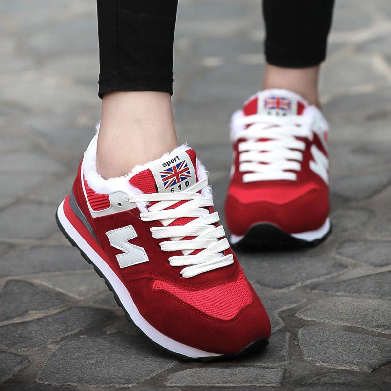 红色平底鞋 2016冬天加绒棉鞋平底女鞋40-43特大码旅游鞋41 42n字运动鞋红色_推荐淘宝好看的红色平底鞋