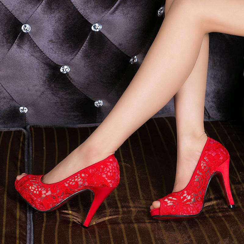 红色鱼嘴鞋 鱼嘴高跟凉鞋黑色夏网纱镂空高跟鞋细跟小码 大码红色婚鞋新娘鞋_推荐淘宝好看的红色鱼嘴鞋
