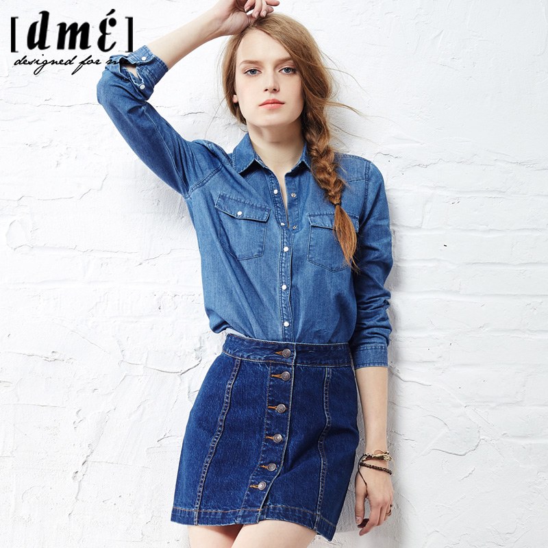 女士牛仔衬衫 2016德玛纳牛仔衬衫女春蓝色牛仔衬衫女长袖衬衫新款衬衣女秋修身_推荐淘宝好看的女牛仔衬衫