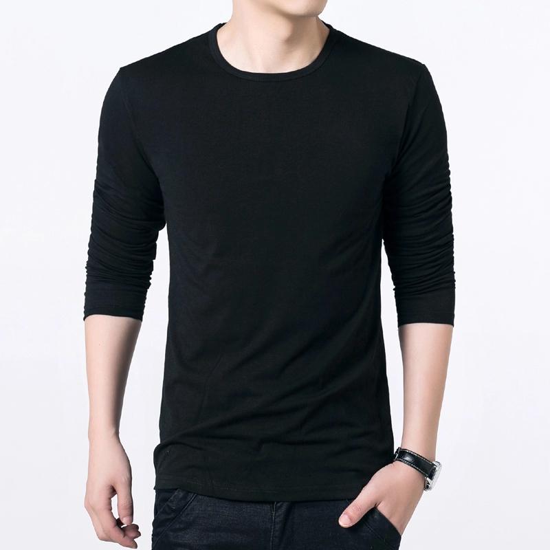 黑色T恤 加绒 秋冬男士长袖圆领T恤纯色打底衫韩版男装上衣服体恤衫潮男装_推荐淘宝好看的黑色T恤