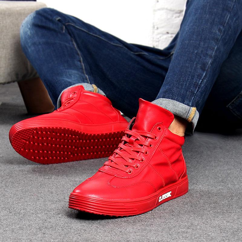 红色高帮鞋 冬季红色高帮鞋男士休闲鞋板鞋韩版潮高帮男鞋街舞鞋加绒保暖棉鞋_推荐淘宝好看的红色高帮鞋