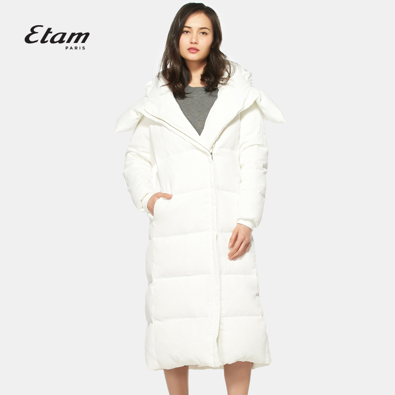 艾格羽绒服 艾格 Etam 冬季时尚百搭纯色长款连帽羽绒服16013508686_推荐淘宝好看的艾格羽绒服