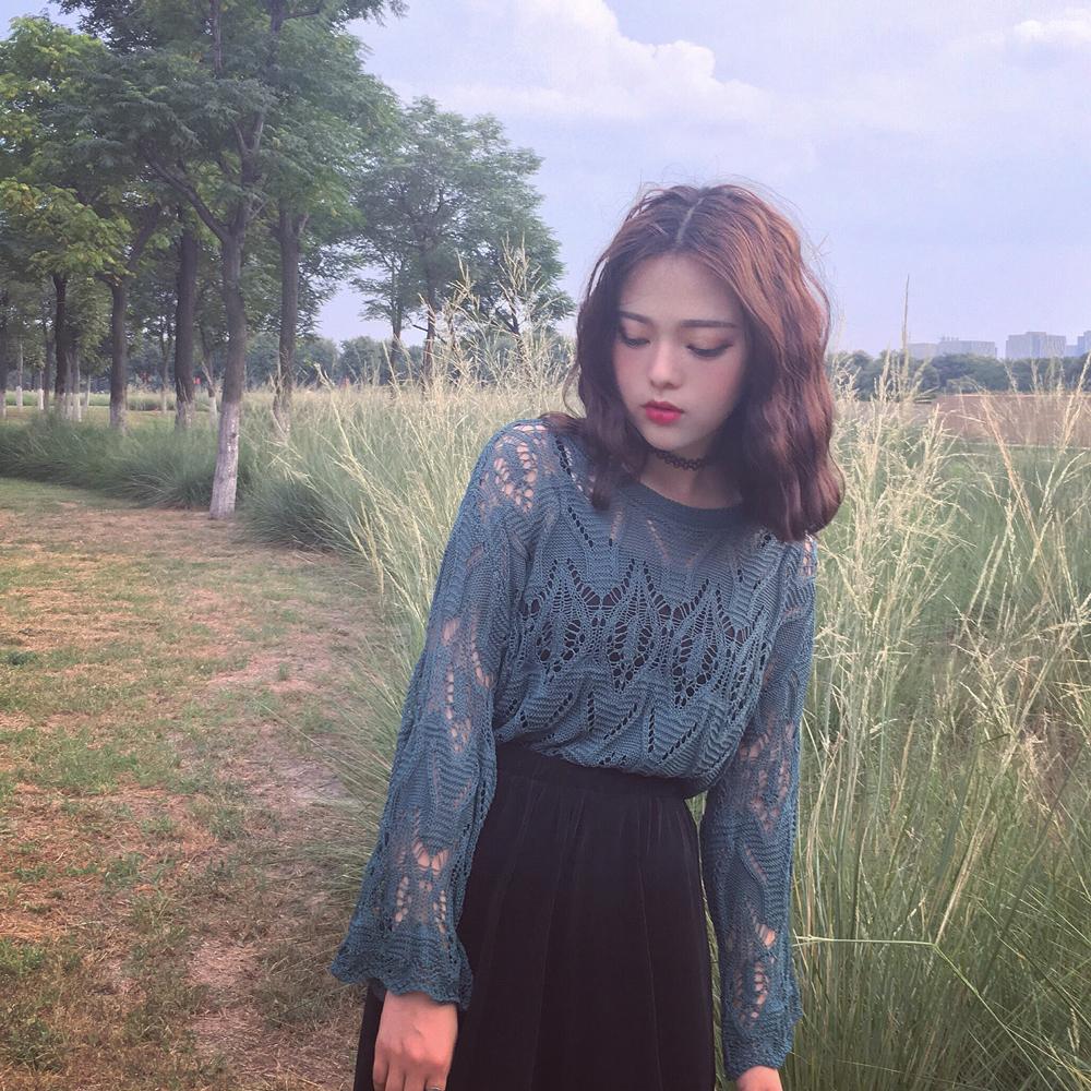 镂空针织衫罩衫 复古韩国chic风气质绿宽松喇叭线镂空针织衫长袖罩衫女上衣_推荐淘宝好看的镂空针织衫罩衫