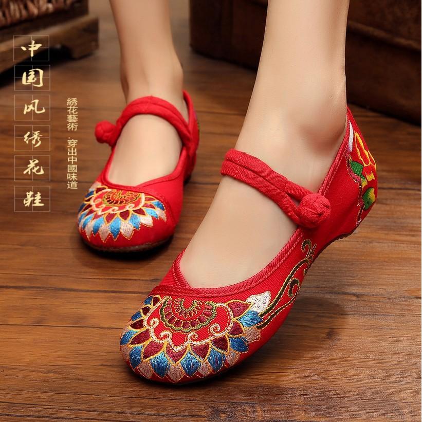 红色坡跟鞋 春夏老北京绣花布鞋女单鞋坡跟佛教图腾民族风红色刺绣广场舞蹈鞋_推荐淘宝好看的红色坡跟鞋