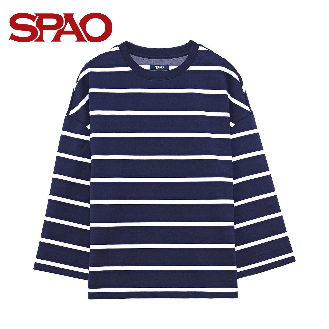 女士套头卫衣 SPAO2017春季新款女式条纹宽松休闲圆领百搭套头卫衣SPMW723G32_推荐淘宝好看的女士套头卫衣