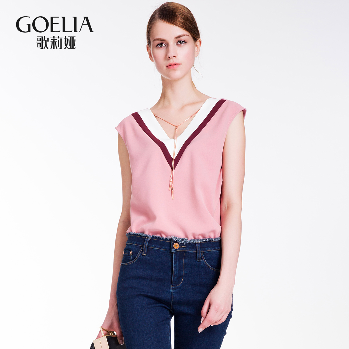 歌莉娅女装 歌莉娅女装 秋直筒V领背心纯色短款T恤167R3A020_推荐淘宝好看的歌莉娅
