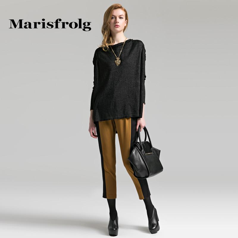 玛丝菲尔女装 Marisfrolg玛丝菲尔女装时尚显瘦羊毛简约拼接休闲裤秋专柜正品_推荐淘宝好看的玛丝菲尔