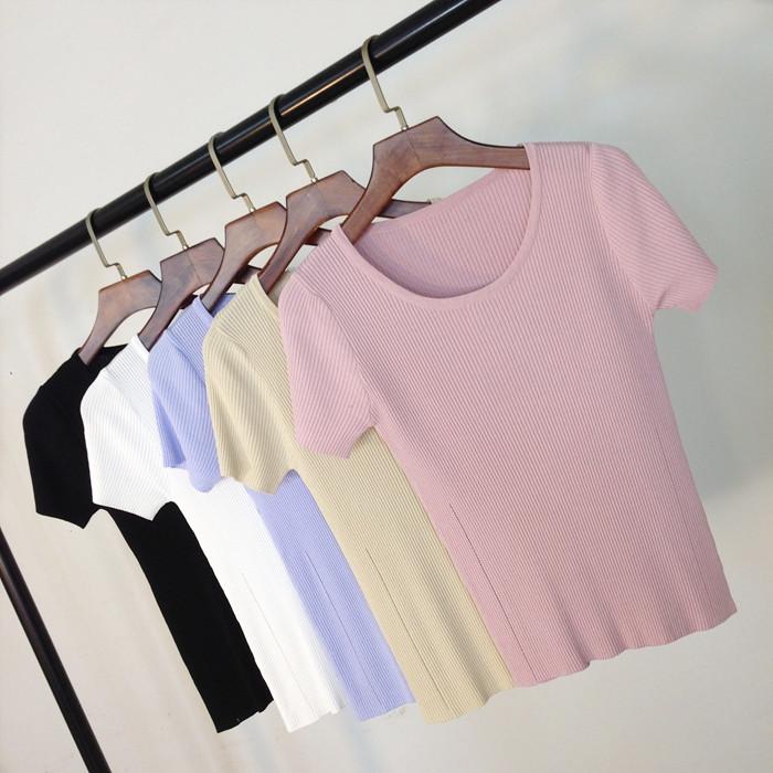 短袖针织衫 2017韩版女短袖冰丝t恤夏季修身百搭显瘦纯色圆领紧身针织打底衫_推荐淘宝好看的女短袖针织衫