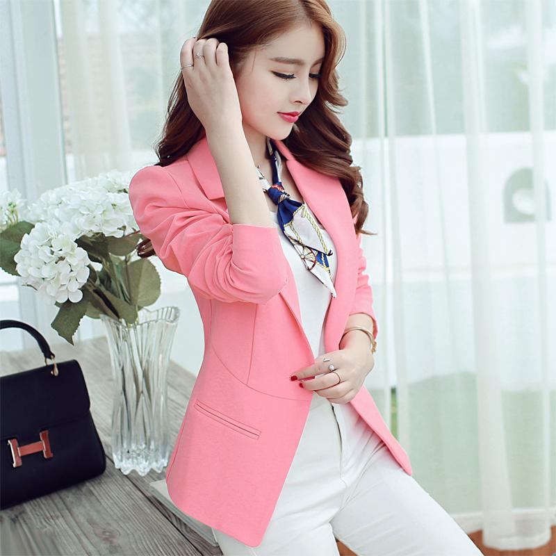 粉红色小西装 小西装女2016秋冬新款上衣 韩版修身 显瘦西服 大码外套 潮_推荐淘宝好看的粉红色小西装