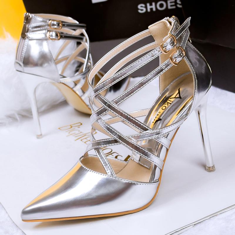 镂空罗马鞋 欧美漆皮镂空罗马凉鞋 超高跟细跟尖头细带组合夜店性感单鞋女鞋_推荐淘宝好看的镂空罗马鞋