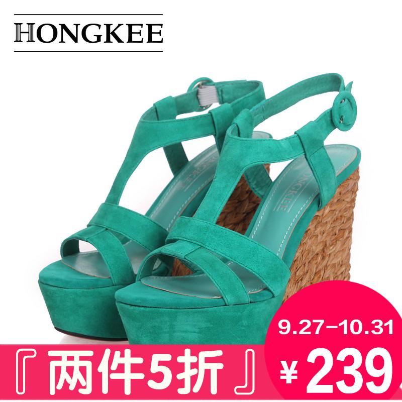 绿色坡跟鞋 红科13年夏款绿色露趾舒适草编坡跟高跟女凉鞋XWC63_推荐淘宝好看的绿色坡跟鞋