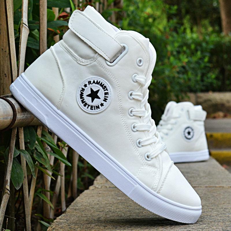 白色高帮鞋 秋季男士布鞋英伦高帮男鞋帆布鞋学生鞋子白色休闲鞋板鞋系带潮鞋_推荐淘宝好看的白色高帮鞋