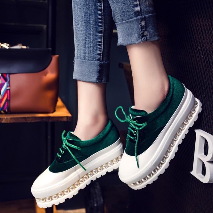绿色松糕鞋 松糕底圆头系带丝绒面拼色小码女鞋中跟厚底大码单鞋蓝色红色绿色_推荐淘宝好看的绿色松糕鞋