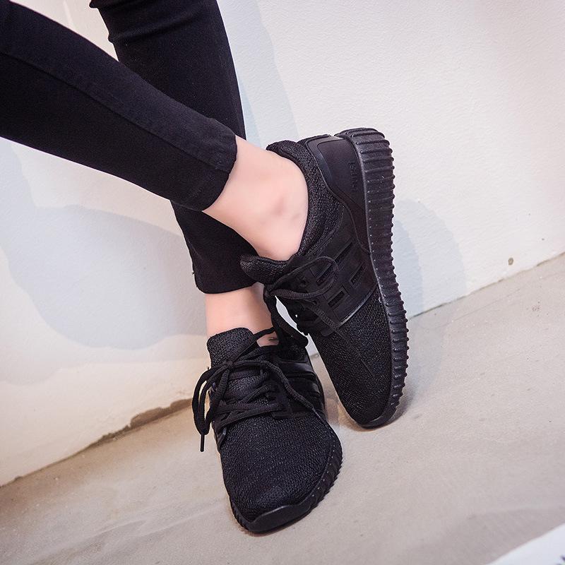 红色运动鞋 全黑色红色女生透气小红鞋女士平底运动鞋女学生休闲鞋女跑步女鞋_推荐淘宝好看的红色运动鞋