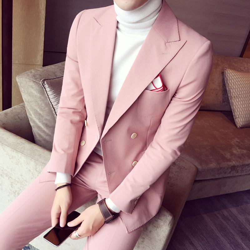 粉红色小西装 青年韩版修身休闲小西装发型师外套男士双排扣西服套装英伦上衣潮_推荐淘宝好看的粉红色小西装