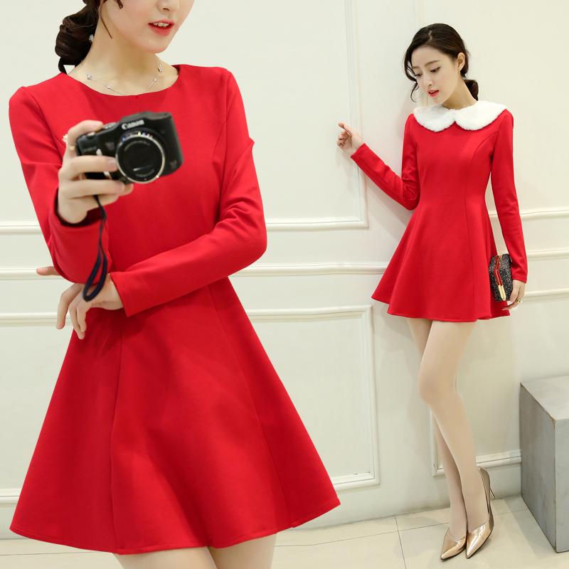 红色连衣裙 秋冬新款女装韩版气质敬酒小礼服修身显瘦加厚长袖打底红色连衣裙_推荐淘宝好看的红色连衣裙