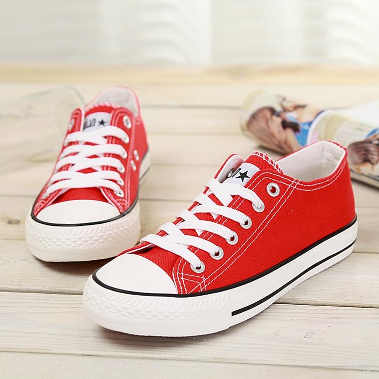 红色帆布鞋 环球帆布鞋女学生鞋韩版白球鞋女休闲鞋平底透气低帮红色布鞋女鞋_推荐淘宝好看的红色帆布鞋