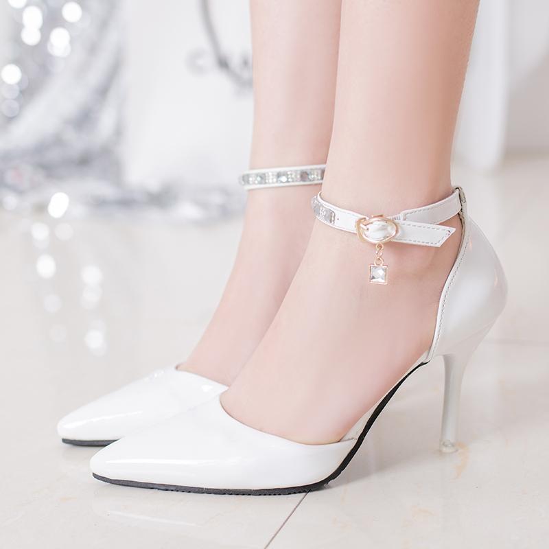 白色高跟凉鞋 2016新款春夏季尖头白色高跟鞋女细跟职业中跟单鞋一字扣包头凉鞋_推荐淘宝好看的女白色高跟凉鞋