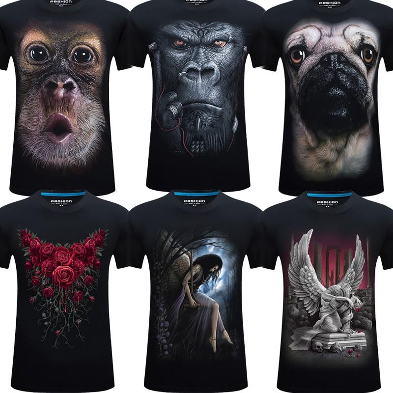 紫色T恤 夏季男款短袖t恤加肥加大码搞笑创意3d立体个性动物猩猩图案体恤_推荐淘宝好看的紫色T恤