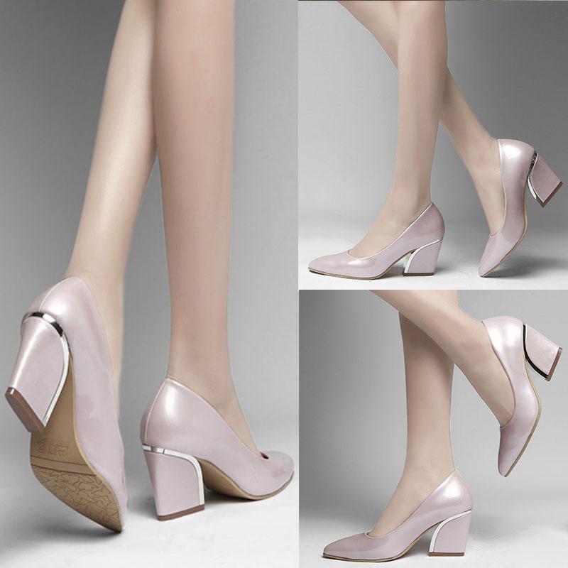 高跟坡跟鞋 新款韩版性感漆皮尖头中跟高跟鞋粗跟单鞋女浅口坡跟婚鞋大码女鞋_推荐淘宝好看的高跟坡跟鞋