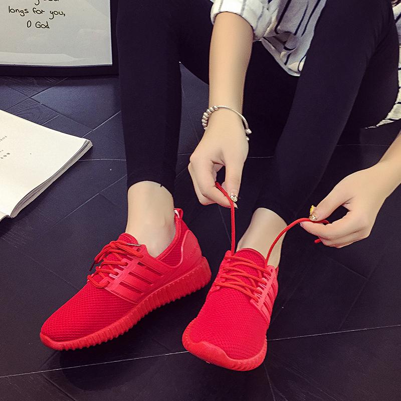 红色厚底鞋 小红鞋夏季男女椰子鞋飞织网布透气运动鞋跑步休闲厚底大红色板鞋_推荐淘宝好看的红色厚底鞋