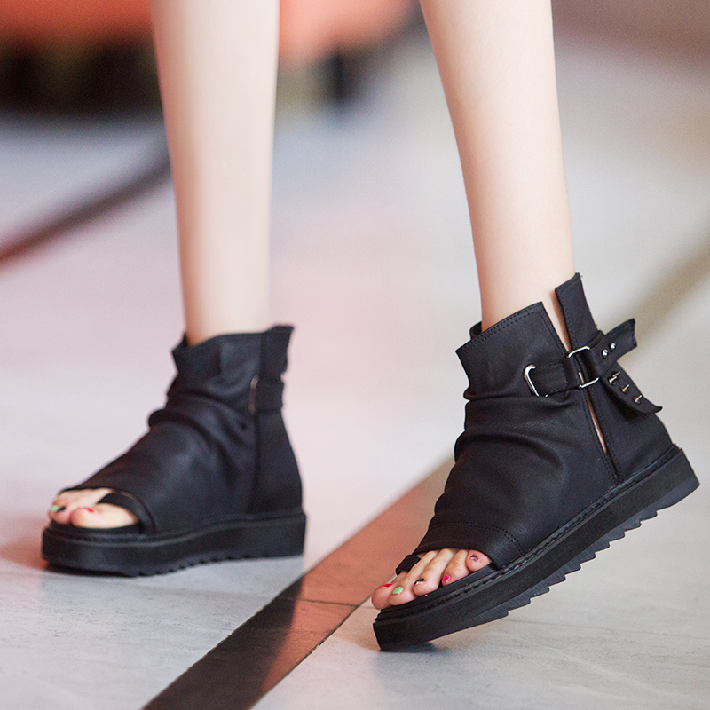 罗马平底鞋 新款真皮柳钉鱼嘴凉鞋女黑色短靴坡跟平底松糕厚底凉靴高帮罗马鞋_推荐淘宝好看的女罗马平底鞋