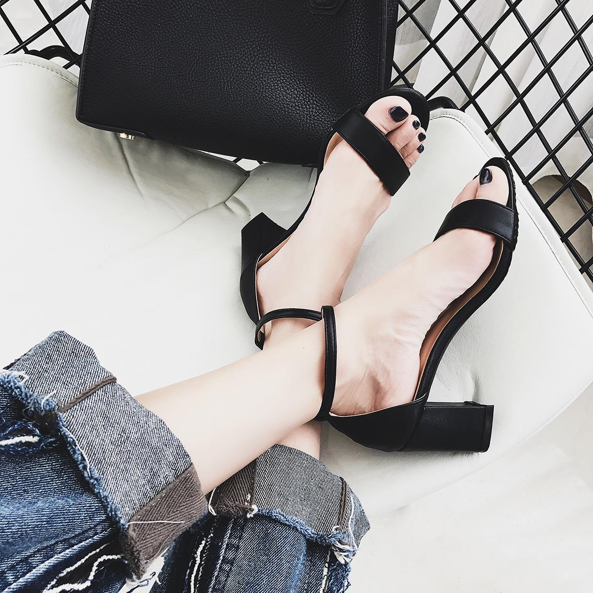 女士罗马鞋 一字扣带露趾工作粗跟凉鞋女夏17新款后包黑色中跟罗马百搭学生鞋_推荐淘宝好看的女罗马鞋