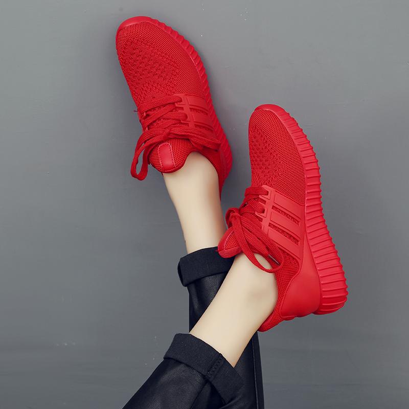 红色厚底鞋 秋冬情侣椰子鞋飞织网布透气运动跑步休闲女鞋厚底大红色潮棉鞋_推荐淘宝好看的红色厚底鞋