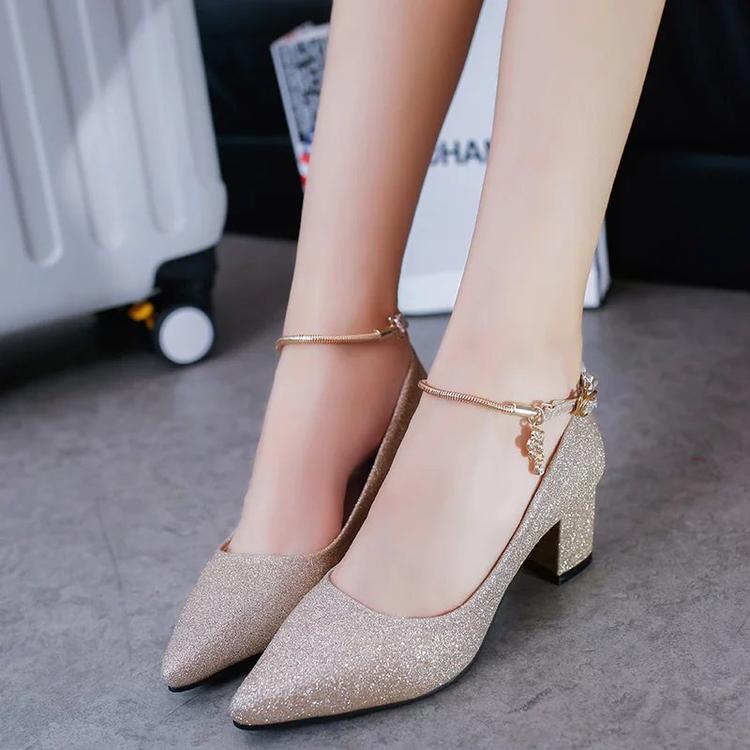 夏季高跟鞋 秋夏季欧美英伦一字扣鞋金银色亮片中跟粗跟高跟鞋尖头浅口女单鞋_推荐淘宝好看的女夏季高跟鞋