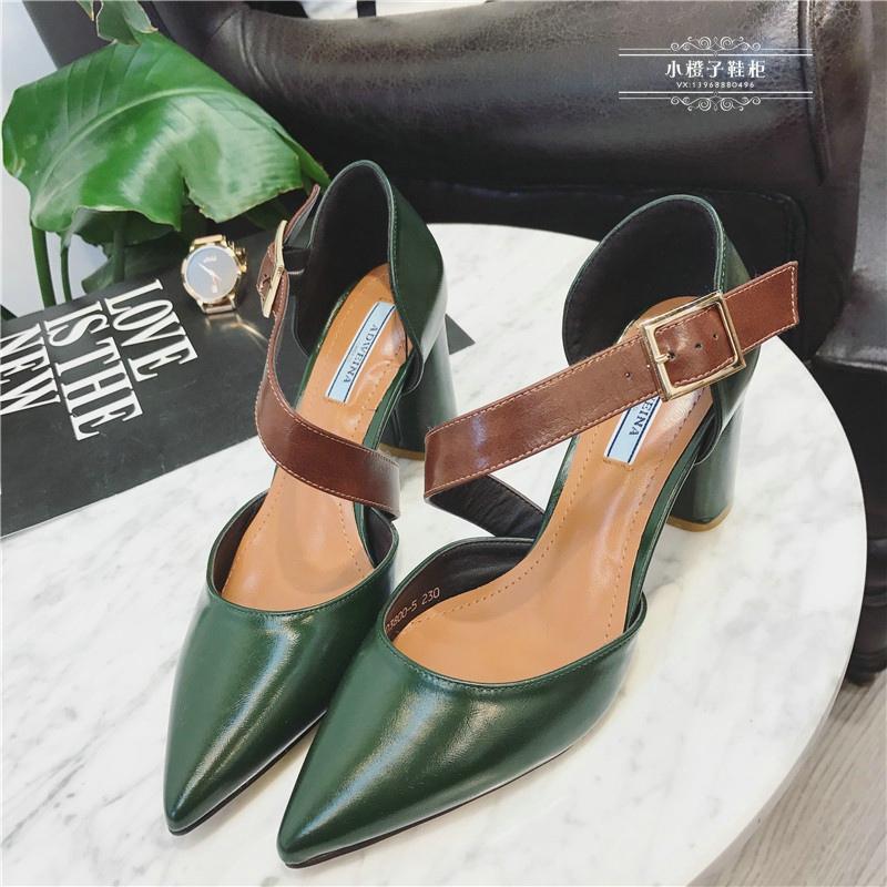 绿色单鞋 欧美复古春秋款女鞋绿色斜一字带尖头浅口高跟鞋粗跟中空显瘦单鞋_推荐淘宝好看的绿色单鞋