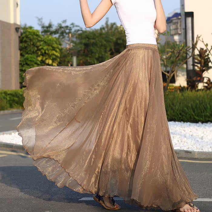 波西米亚拖地长裙半身裙 8米大摆拖地半身长裙沙滩度假半身裙夏波西米亚雪纺纱裙仙女裙纯_推荐淘宝好看的波西米亚拖地长裙半身裙
