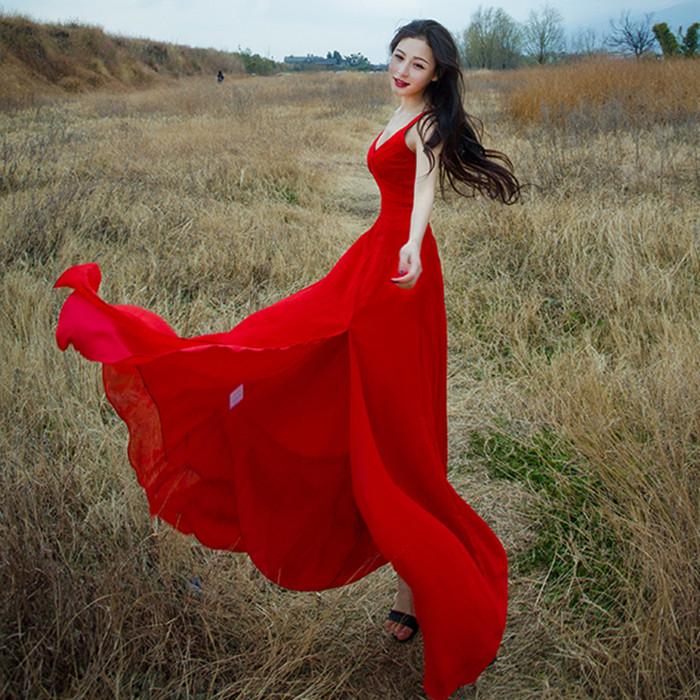 v领修身连衣裙 吊带V领性感开叉修身雪纺连衣裙森女海边沙滩长裙晚会礼服伴娘裙_推荐淘宝好看的v领修身连衣裙