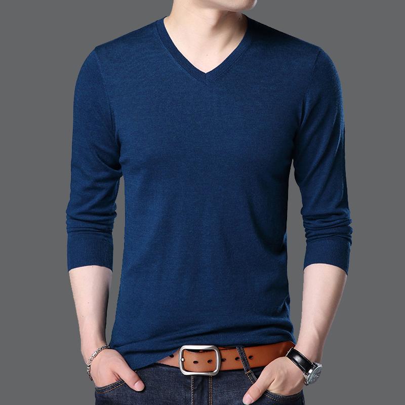 紫色T恤 马克劲霸V领羊毛衫长袖T恤男中年男士纯色小衫秋季针织打底衫毛衣_推荐淘宝好看的紫色T恤