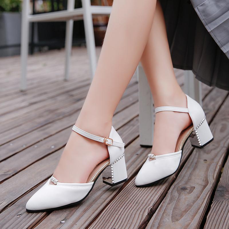 时尚高跟凉鞋 包头凉鞋女夏2017新款百搭韩版时尚粗跟中跟女士性感高跟鞋子单鞋_推荐淘宝好看的女时尚高跟凉鞋