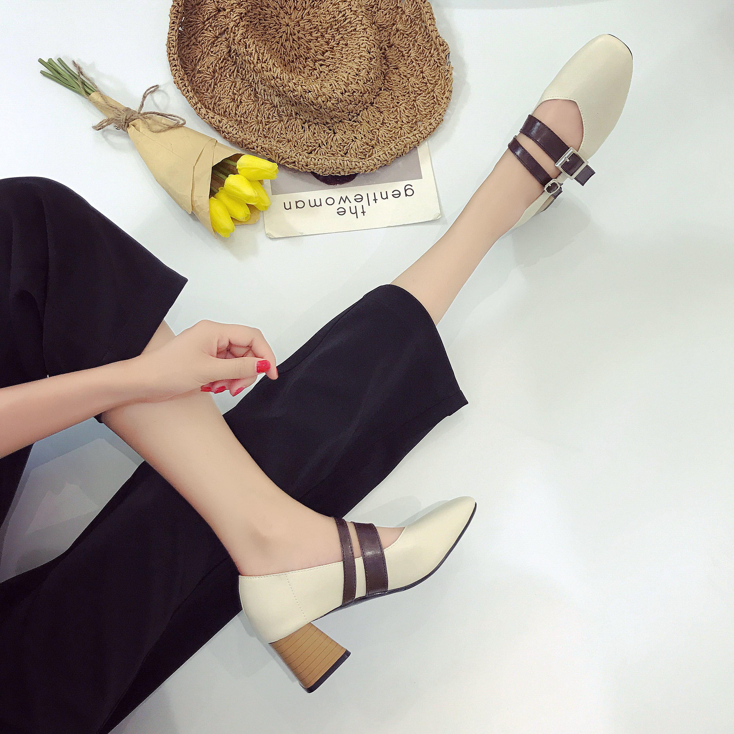 女鞋单鞋 2017夏季新款韩版套脚女鞋鞋一字扣带女单鞋粗跟深口休闲低帮鞋女_推荐淘宝好看的女鞋单鞋