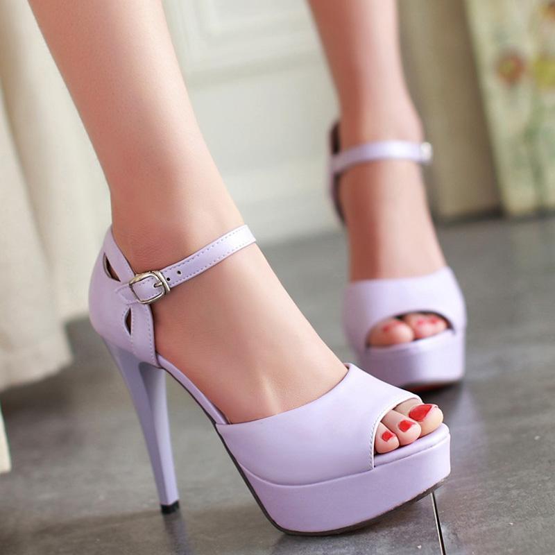 紫色罗马鞋 性感时尚白紫色细跟超高跟夜店公主凉鞋夏女防水台鱼嘴12cm罗马鞋_推荐淘宝好看的紫色罗马鞋