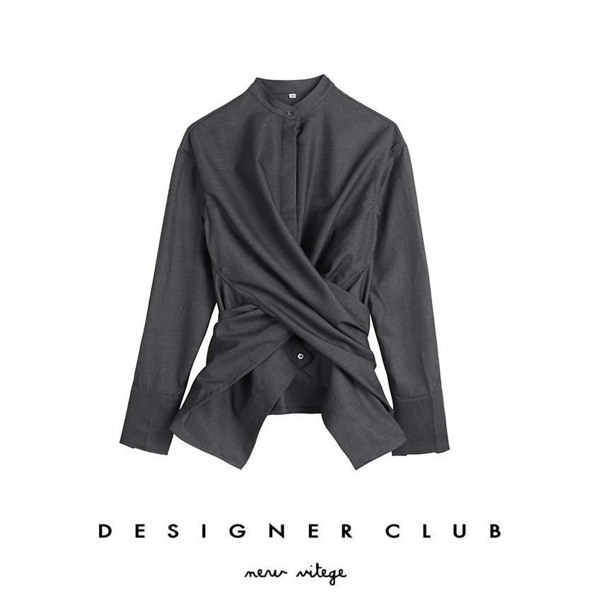 法式衬衫 DEC studios  新品小众设计交叉多种穿法休闲挺括衬衫女DC005_推荐淘宝好看的女法 衬衫