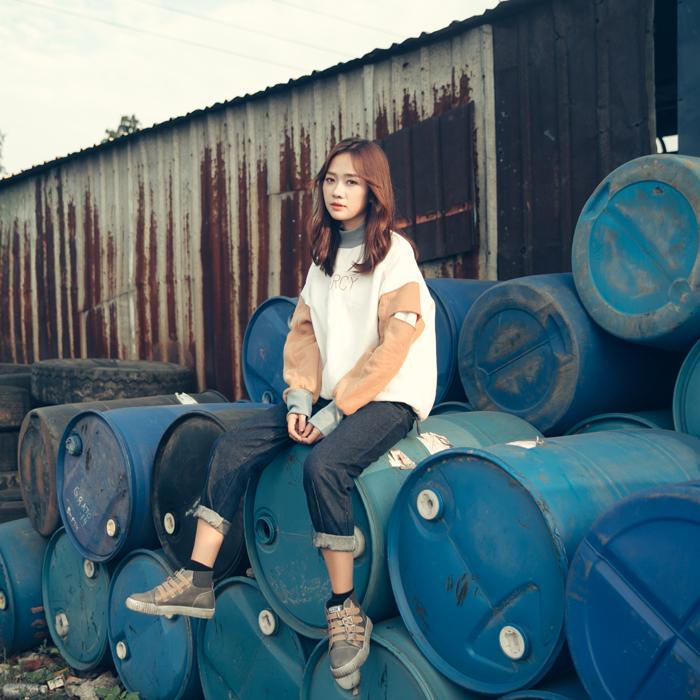 绿色卫衣 青蔷薇 冬季新款韩版女装套头加绒卫衣拼色宽松大码长袖外套 T330_推荐淘宝好看的绿色卫衣