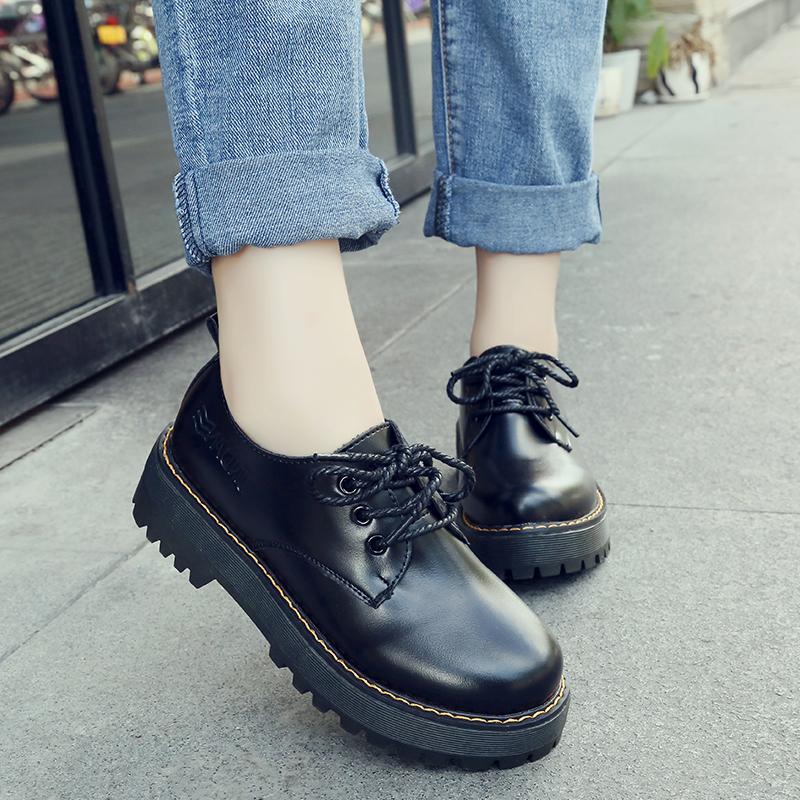 黑色松糕鞋 英伦学院风加绒棉小皮鞋女韩版圆头系带中跟平底松糕底黑色单鞋女_推荐淘宝好看的黑色松糕鞋
