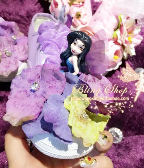 紫色帆布鞋 2016新款原创设计手工定制花朵花瓣精灵仙子翅膀紫色帆布鞋休闲鞋_推荐淘宝好看的紫色帆布鞋