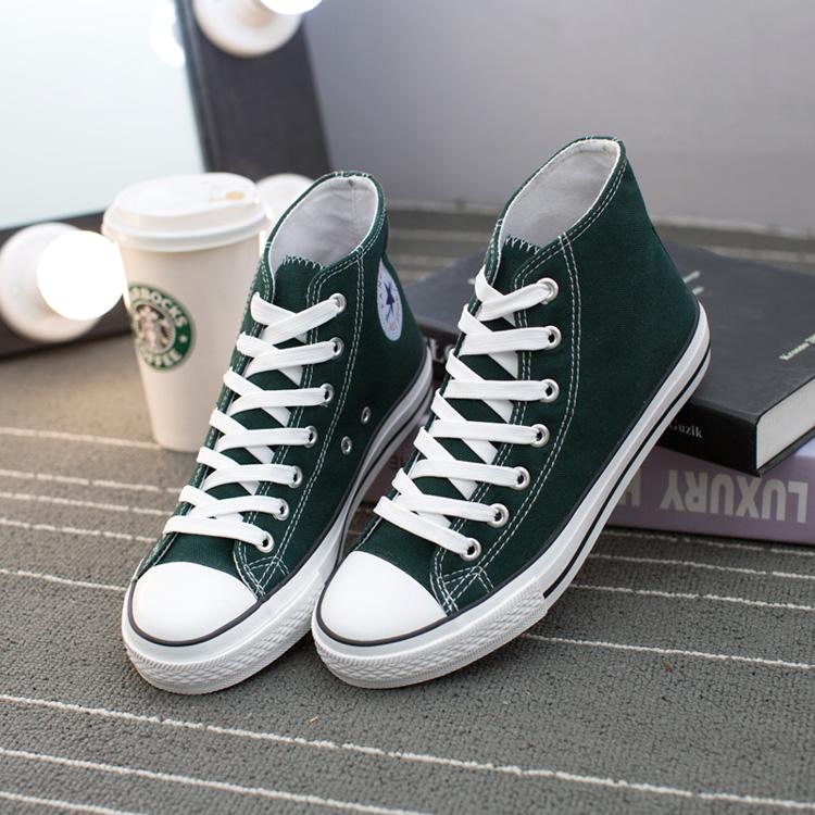 绿色高帮鞋 春夏新款高帮女士墨绿色帆布鞋韩版潮鞋女学生深绿色经典布鞋板鞋_推荐淘宝好看的绿色高帮鞋