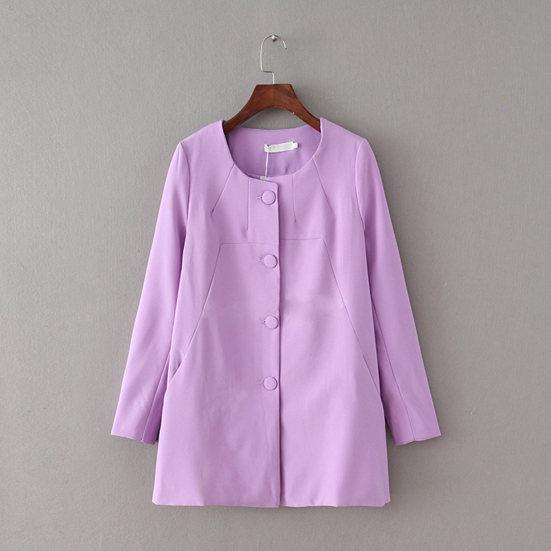 紫色风衣 C15X外新人白菜价女装风衣中长款气质长袖西装外套807_推荐淘宝好看的紫色风衣