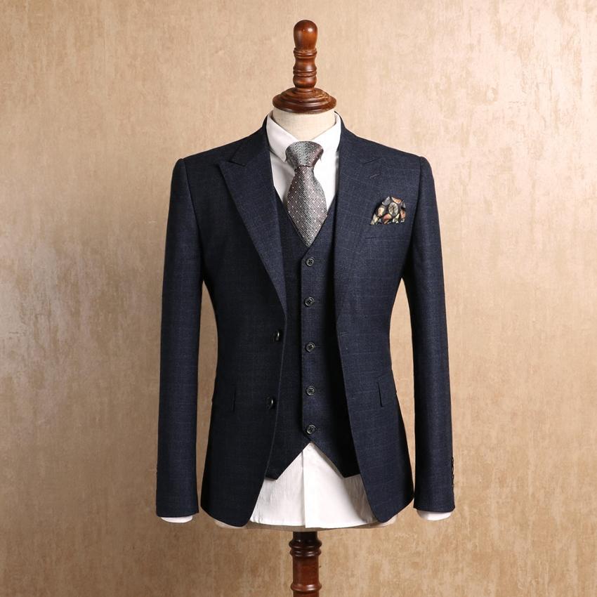 欧美西装男 IsirHonour欧美绅士深蓝色格纹修身西装英伦复古戗驳领格子西服男_推荐淘宝好看的欧美西装男
