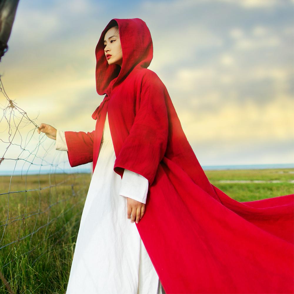红色风衣 棉麻记2016秋季新款复古文艺加厚亚麻巫师连帽红色风衣女长袖外套_推荐淘宝好看的红色风衣
