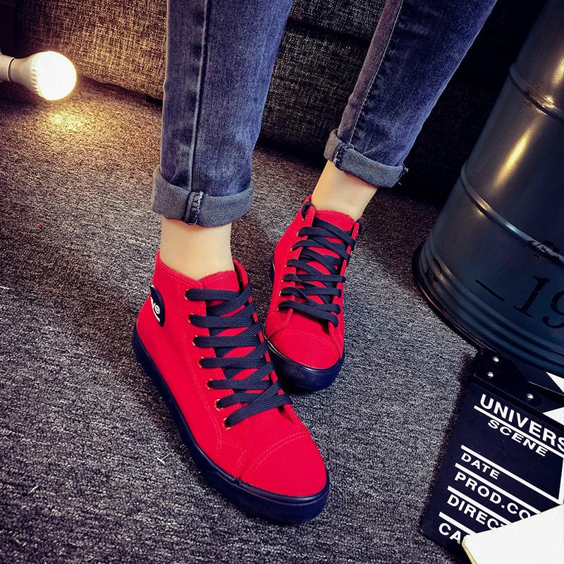 红色帆布鞋 秋季韩版高帮帆布鞋女学生休闲鞋平底学院风板鞋红色女鞋平跟布鞋_推荐淘宝好看的红色帆布鞋