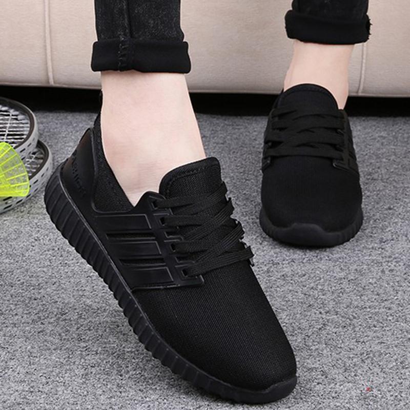 黑色运动鞋 全黑平跟平底运动鞋女黑色圆头休闲鞋网面透气女鞋韩版新款学生鞋_推荐淘宝好看的黑色运动鞋