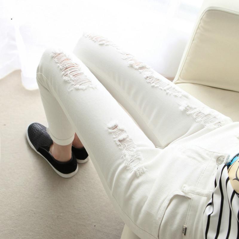 白色牛仔裤 黑色膝盖破洞牛仔女秋季外穿打底九分裤高腰弹力小脚显瘦铅笔裤子_推荐淘宝好看的白色牛仔裤