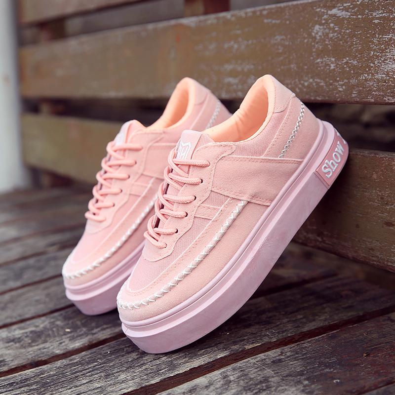 粉红色平底鞋 港风板鞋粉红色女鞋可爱女生鞋子韩版秋季学生帆布鞋平底运动鞋潮_推荐淘宝好看的粉红色平底鞋